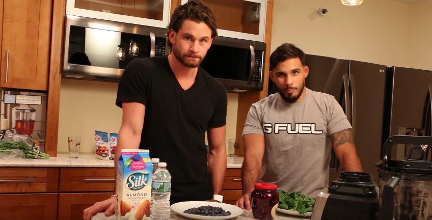 "Former world champion boxer Chris Algieri, a Greenlawn native, left, is pictured with YouTube personality Dennis ""The Menace"" Bermudez on the set of a recent ""Cooking With The Menace"" video."