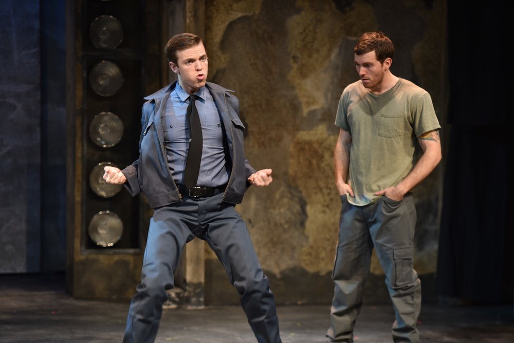 "Following the hilarious number of a ""Big-Ass Rock,"" Brent Michael DiRoma (who plays Jerry Lukowski), left, teaches Spencer Glass (Malcolm MacGregor), right, the pelvic thrust, in John W. Engeman Theater's production of ""The Full Monty."""