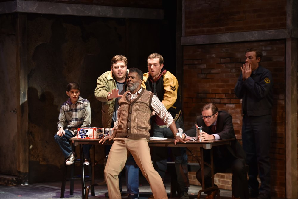 "Pictured, from left, during the hysterical audition number of a ""Big Black Man"" in ""The Full Monty,"" are: Kyle Wolf (who plays the role of Nathan Lukowski), Ryan G. Dunkin (Dave Bukatinsky), Milton Craig Nealy (""Horse""), Brent Michael DiRoma (Jerry Lukowski), Peter Simon Hilton (Harold Nichols), and Spencer Glass (Malcolm MacGregor)."