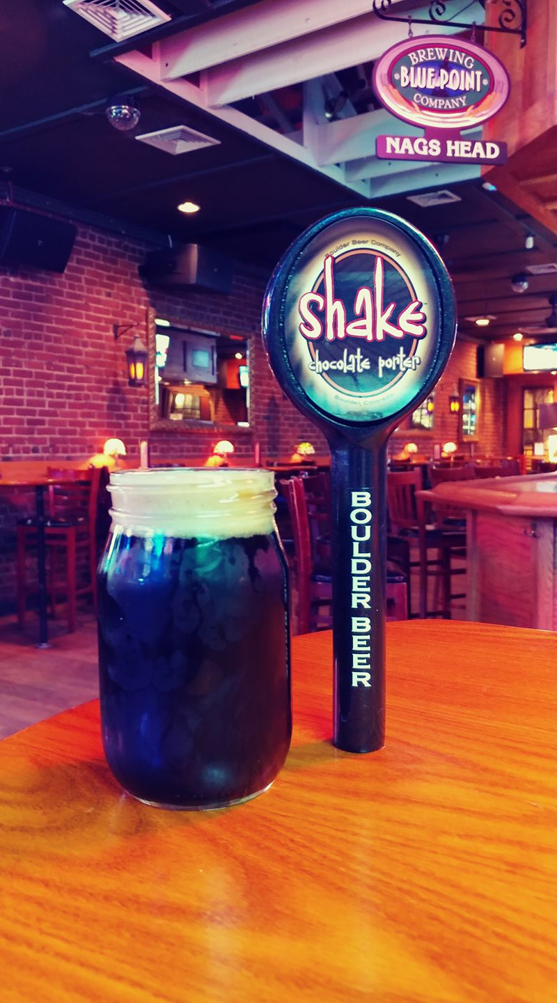 The Shake Chocolate Porter, which is brewed by Boulder, Colorado-based Boulder Beer/Wilderness Pub's, is one of 26 beers on tap at Nags Head in Huntington village.