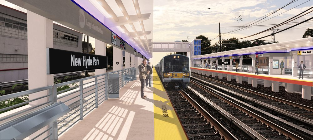 A rendering depicts potential improvements to, and the addition of a third track to, the New Hyde Park LIRR station in Nassau.