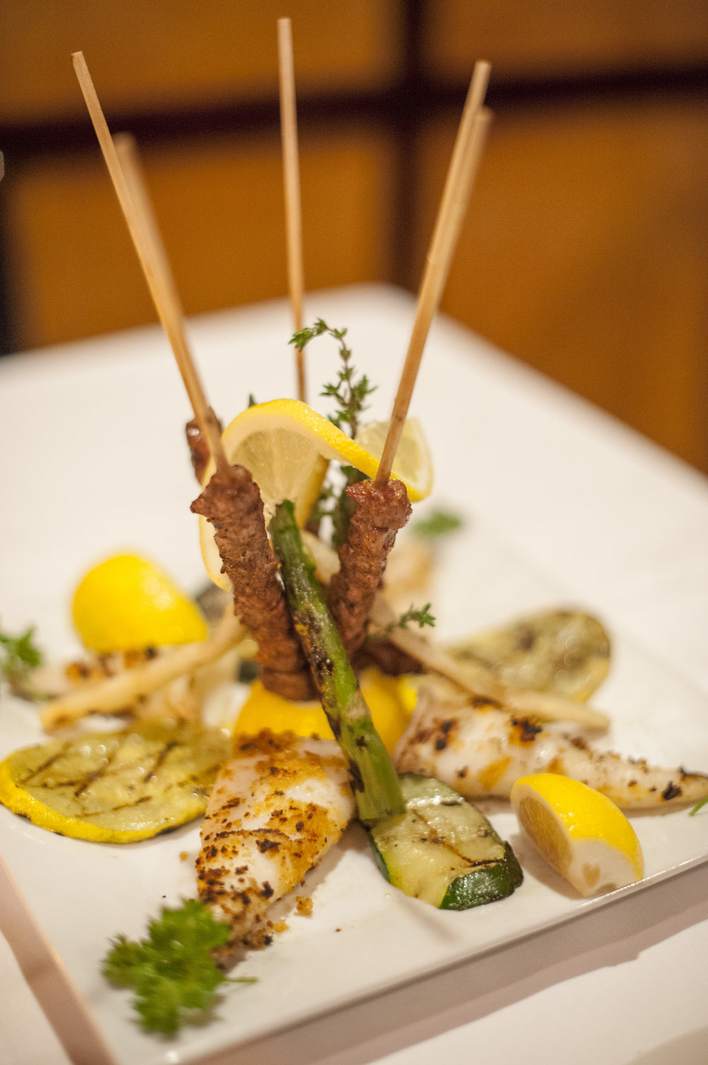 As a starter, the antipasti combination of Lamb Arrosticini and Grilled Calamari are a unique union of land and sea crafted with fresh ingredients and a blend of traditional herbs and spices.