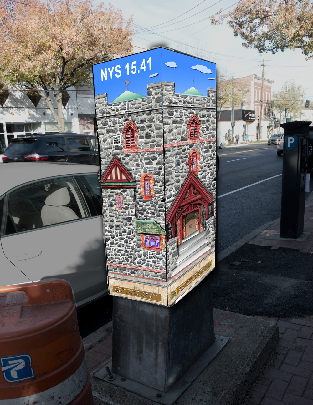 """""""The Bell Tower of St. John's"""" by Joseph Scinto will be part of the five public art installation on signal boxes in Huntington village and will be located on the south side of Main and Prospect streets."""