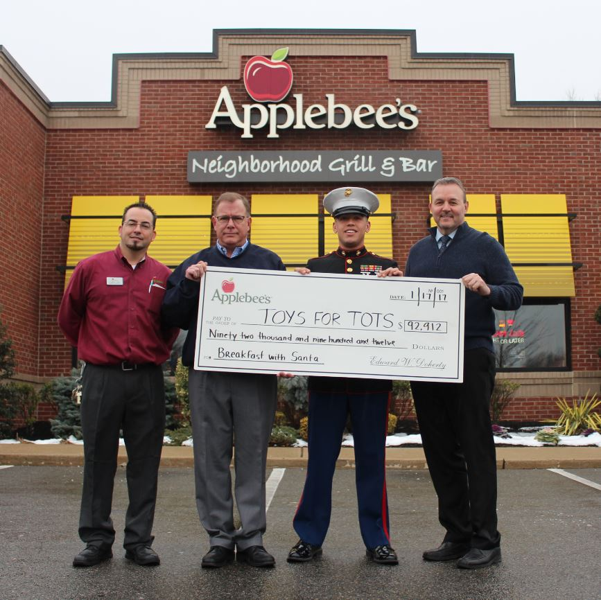 Pictured above, from left, are Christopher Lopa, general manager, Applebee's; Kevin Coughlin, director of operations, Applebee's; Staff Sergeant Ramon Perez, United States Marine Corps; John Antosiewicz, area director, Applebee's.