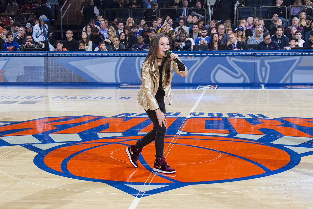 Sky performs live at the New York Knicks at Madison Square Garden, NYC, in January.