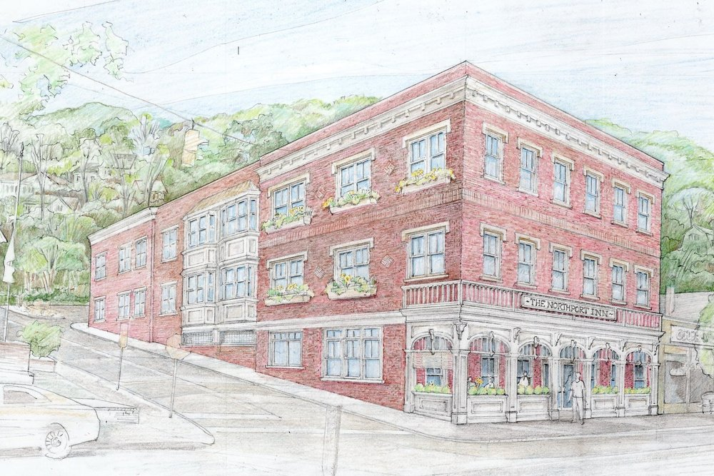 A rendering by Hoffman Grayson Architects, LLP, pictures the development of a proposed three-story inn on Main Street in Northport Village.
