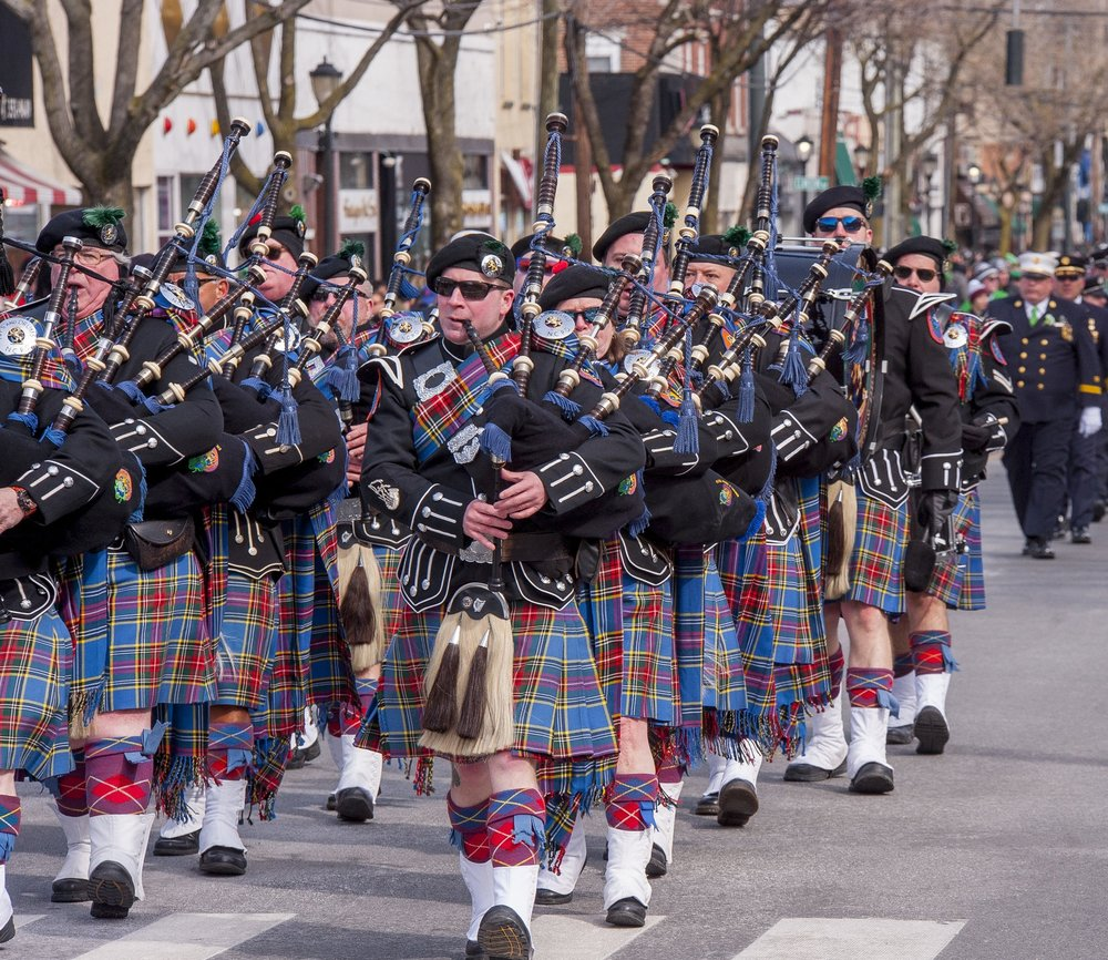 Members of the Nassau County Police Emerald Society Pipe Band visited the parade in numbers to add a backdrop of drums and pipes, addingto the Irish flavor.