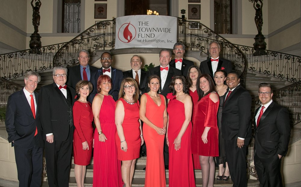 Photos by Lenny Stucker (Lennystucker.com) Townwide Fund of Huntington board members are pictured on the steps of Oheka Castle during last week's Red Tie Gala.