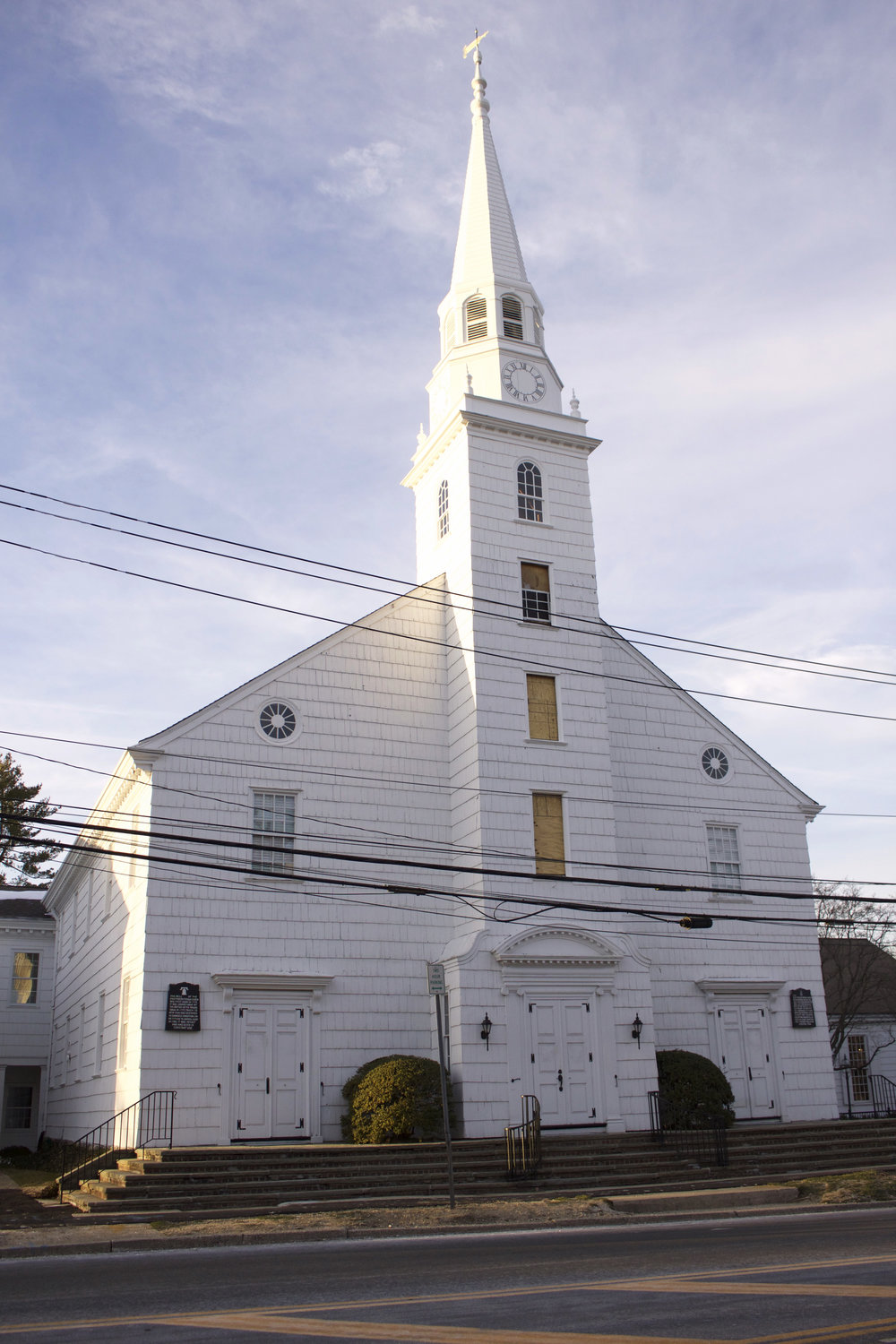 Long Islander News photo/Janee Law The Old First Presbyterian Church recently unveiled its 100 foot tall steeple, after it underwent a five month restoration process.