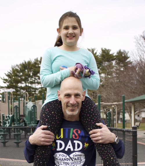Long Islander News photo/Janee Law Father Steve Stone and daughter Olivia Jane Stone, who has autism, are chronicling their journey with the disorder through Facebook page Olivia's Journey.