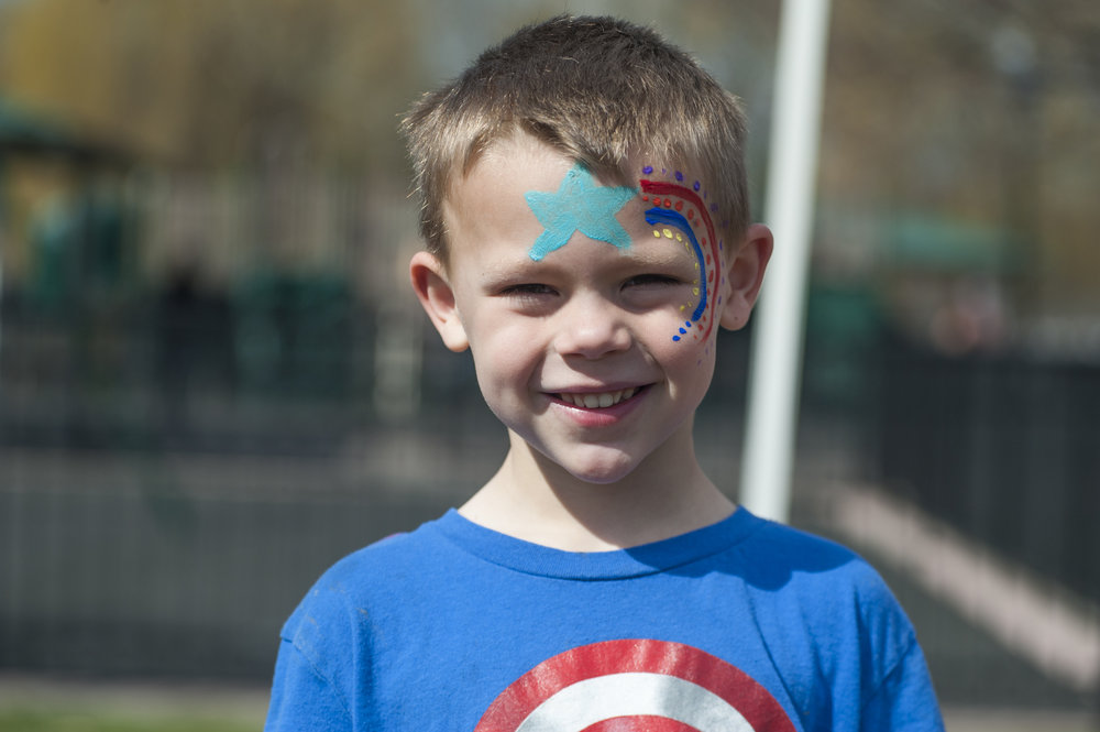 William Vitale, 5, sports a freshly paintedshooting star on his face.