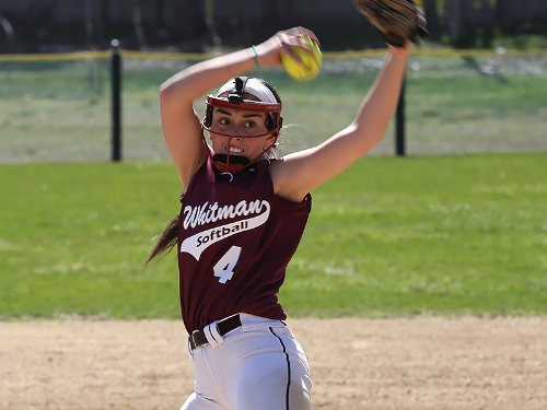 Photo/South Huntington School District Whitman's Taylor Epstein threw a no-hitter, the first of her varsity career, and led Wildcats to a 12-0 win over Ward Melville last week.