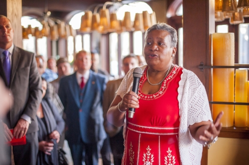 Long Islander News photo/Jano Tantongco Councilwoman Tracey Edwards officially announced her intent to run for Huntington Town supervisor at a fundraiser event on Tuesday at Pancho Villa's restaurant in Huntington village.
