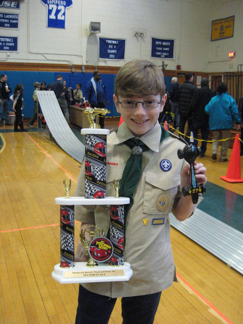 Second Place trophy winner Aidan L., of East Northport's Pack 52
