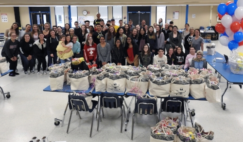 Photos courtesy of Brenda Lentsch Commack International Baccalaureate students joined the From One Mother To Another nonprofit on Saturday to fill 170 baskets with childcare essentials that will be distributed to mothers across Long Island.