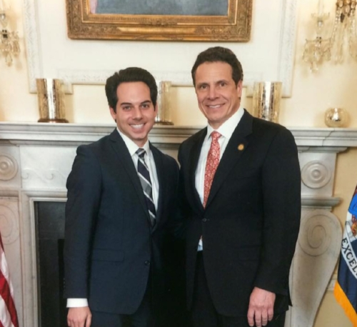Scott Martella, left, who was killed in a crash last year, is pictured with Gov. Andrew Cuomo.