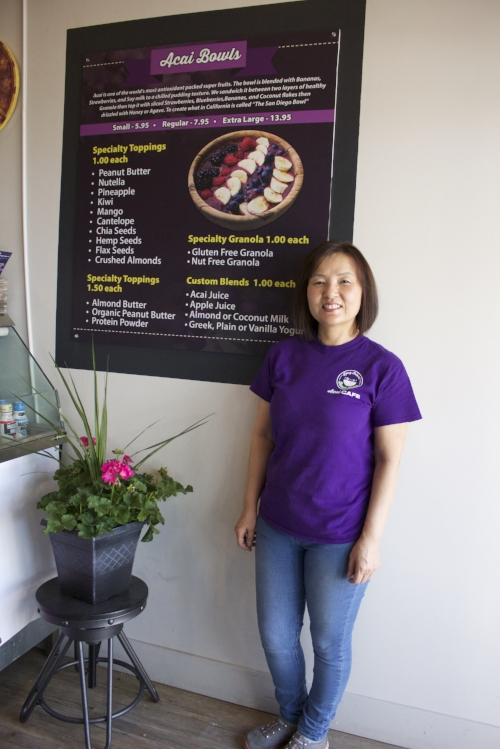 Long Islander News photo/Janee Law Christine Kim, co-owner of L.I. Beach Bowls, opened the Huntington village acai bowl and smoothie shop on Wednesday.