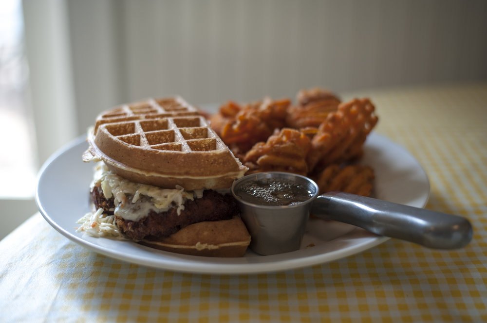 A soon-coming addition to the menu, the OMG! Chicken and Waffles Sandwich is both sweet and savory, all with a side of maple-infused honey mustard.