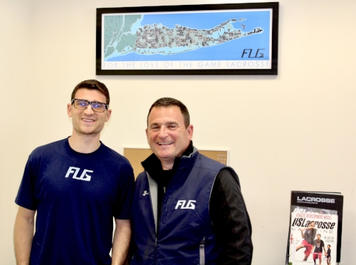 Photo courtesy of Corey Winkoff  Corey Winkoff, left, and his father, Mike Winkoff are the minds behind FLG Lacrosse, and plan to open a Huntington village location next week.