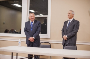 Long Islander News photos/Jano Tantongco Democratic candidates for Huntington Town Supervisor Tracey Edwards, Brian Muellers and Darryl St. George are pictured during Tuesday's meet the candidates night in Huntington.