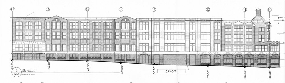 A rendering depicts the view of Gerard Street should a proposed four-story mixed use building with 84 luxury apartments be built in Huntington village.