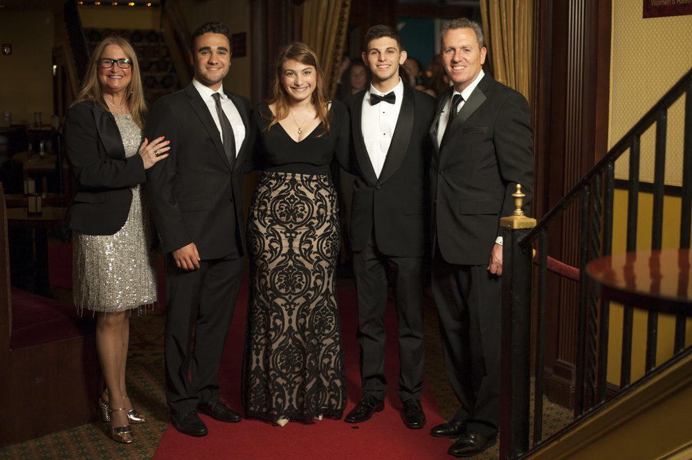 Long Islander News photos/David Weber  Huntington councilmembers Susan Berland, left, and Mark Cuthbertson, right, pose on the red carpet with nominees Kyle Dana, Ashley Gomerman, and Noah Marcus, from Half Hollow Hills High School West.