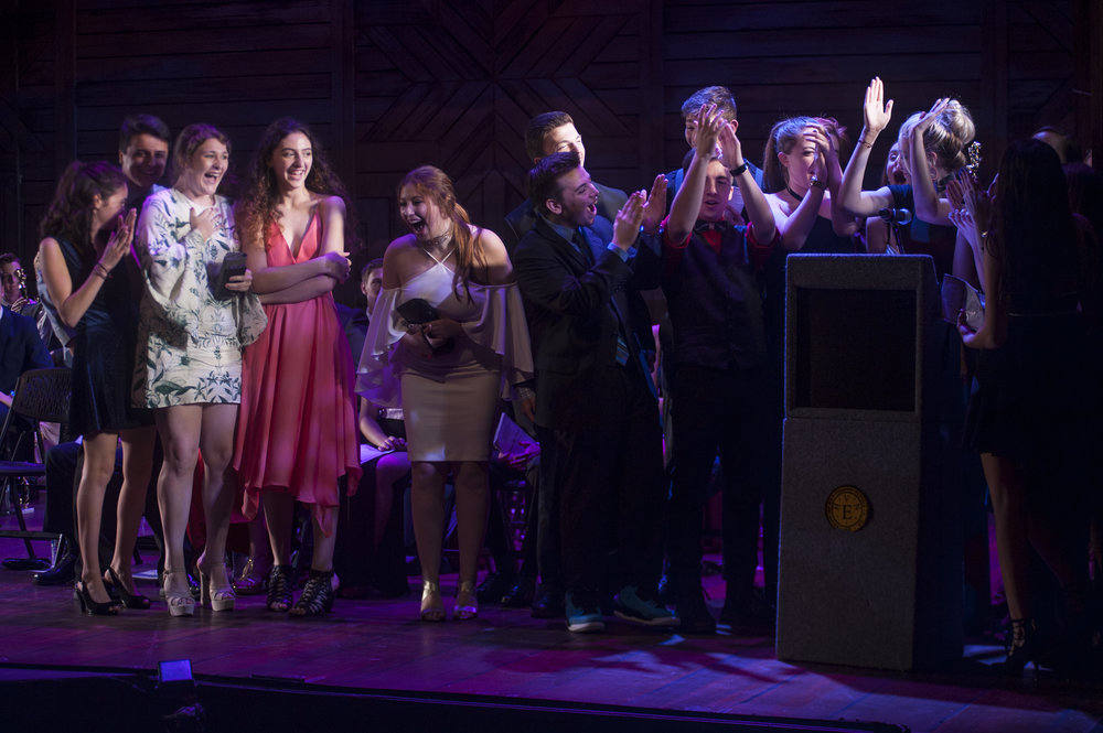 "Cast members of Harborfields High School's ""Guys and Dolls"" celebrates their win for ""Best Musical"" at this year's Hunting-Tony awards show."