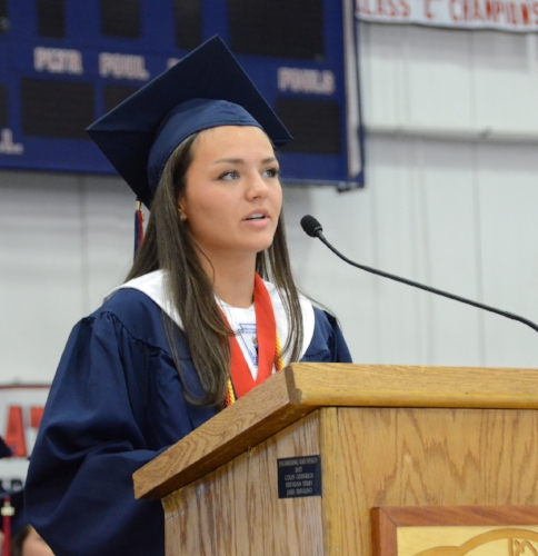 Paige Denatale gives a speech to her fellow classmates of the Cold Spring Harbor graduating class of 2017.