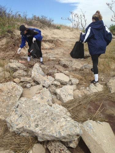 Photo/Elwood School District Members of the Elwood-John Glenn girls lacrosse team clean up garbage at Crab Meadow Beach last month.