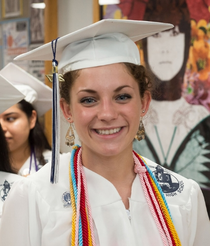 A soon-to-be Huntington High School grad is all smiles before Friday's ceremony. (Photo/Darin Reed)
