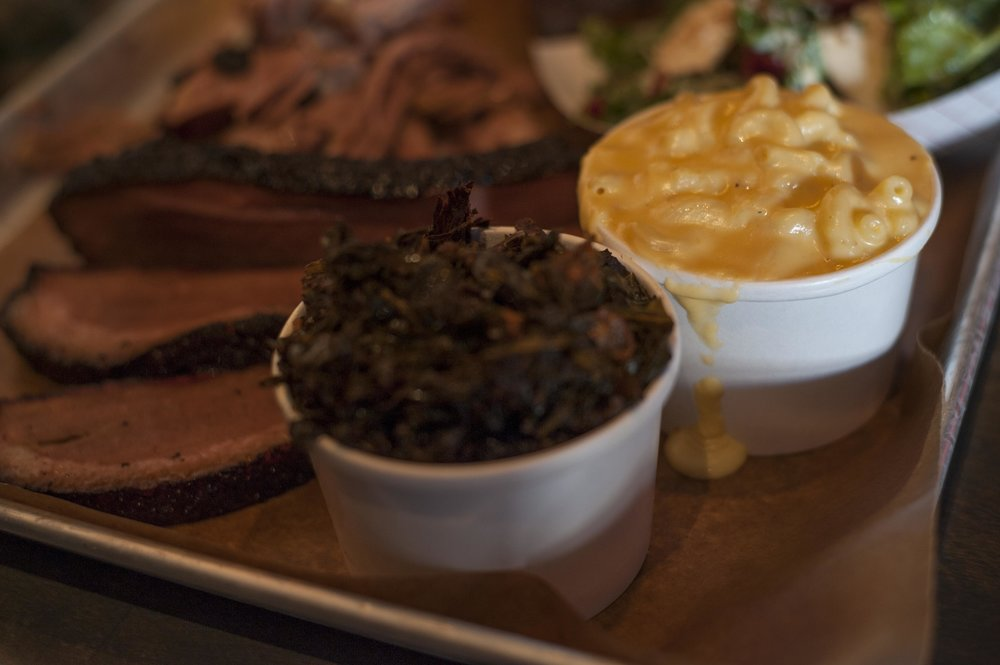 The collard greens are savory, packing a punch like no other. The mac & cheese is creamy, yet subdued.