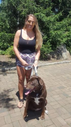 Long Islander News photos/Rachel Stanislawek  Christina Goldblum and her dog, Brooklyn, take an afternoon walk down by the marina in Northport village.