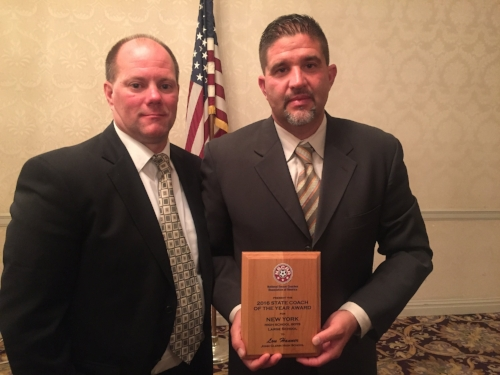 Photos courtesy of Lou Hanner Elwood-John Glenn boys soccer coach Lou Hanner was recently named Coach of the Year by the New York State Public High School Athletic Association. He's seen here in Fall 2016, receiving a similar honor from the National Soccer Coaches Association.