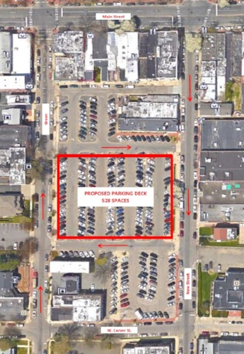"A town-commissioned study has determined that a central portion of the municipal lot between Green and New streets in the village would be ""very well suited"" for a parking garage. Marked in red is the site the garage, with a footprint of around 44,000 square feet, would span."