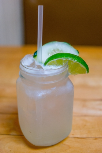 Top off with Amanda's Cucumber Fizz, which mixes together cucumber infused vodka with a splash of St. Germaine elderflower liqueur, sour mix and club soda, garnished with a slice of cucumber.