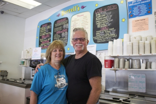 Long Islander News photos/Janee Law  Rick and Cathy Meuser, co-owners of Herrell's Ice Cream in Huntington, pride themselves on high quality ice cream that's delicious and made fresh in the store.