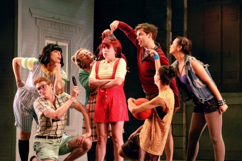 "*Photo by Jessie Eppelheimer Meaghan Maher, center, in the John Engeman Theater's children's production of ""Freckleface Strawberry"" as the lead Strawberry. Also pictured, from left, are Marielle Greguski, Andrew McCluskey, Rita Sarli, Matthew Rafanelli, Jacqueline Hughes and TracyLynn Conner."