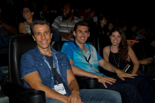 "Cosmo Carlson, middle, at the LA International Shorts Film Festival, where his film, ""The Derby"" was selected and screened for audiences. Also pictured is Erik McDowell, left, and Jenna Beck, right."