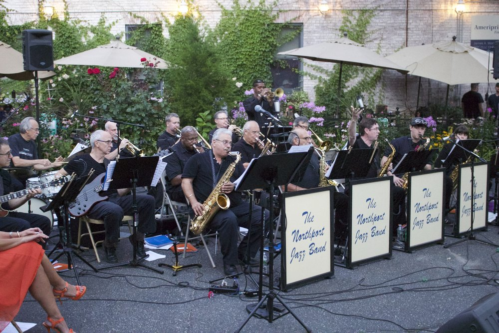 The Northport Jazz Band entertains Northport village-goers during Tuesday night's family fun night.