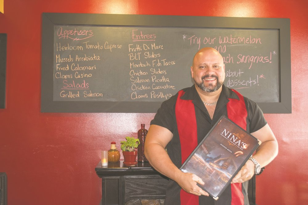 Long Islander News photos/Barbara Fiore  Artie Berke, owner of Nina's Restaurant Wine Bar & Tap Beers, has rebranded the restaurant and expanded the menu.