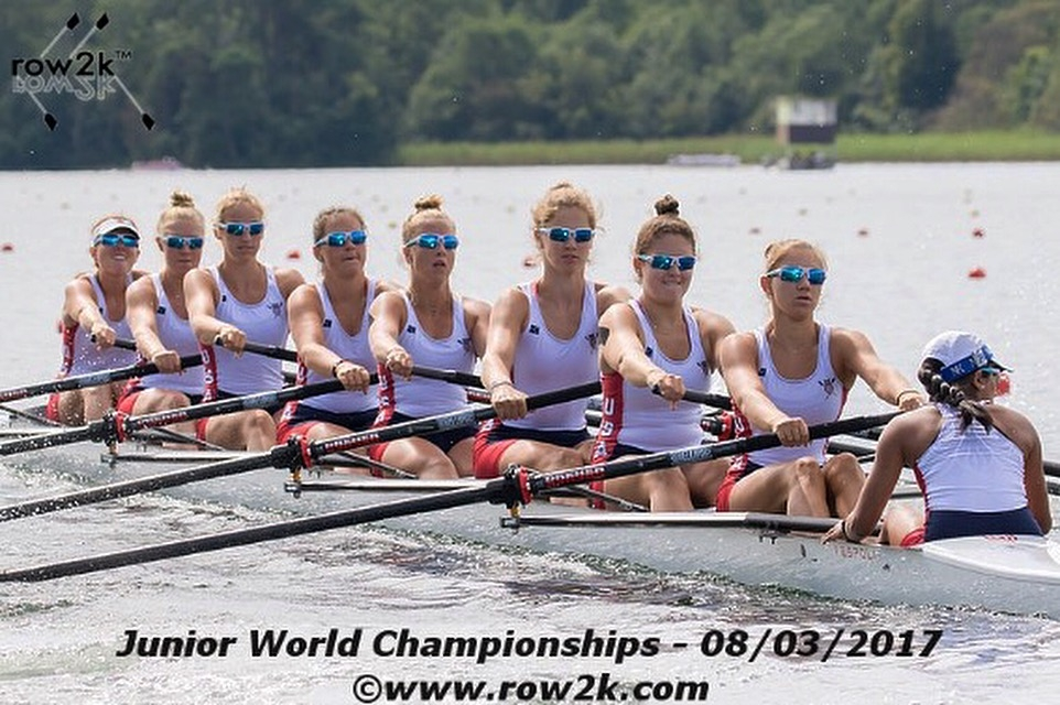 Miranda Nykolyn, far left, sits in the bow seat in the Junior Women's Eight event for the U.S. U19 Junior National Rowing Team.