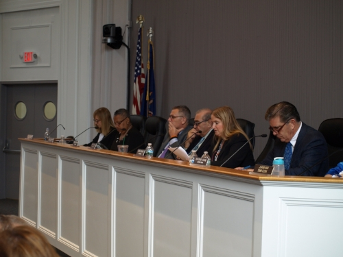 Huntington Town Board members debate term limits during Tuesday's meeting.