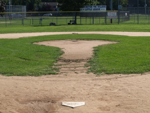 Currently, the infield at Heid Field at Greenlawn Park is made up of natural grass. Tri-Village Little League plans to change that with a turf infield planned to be installed in time for the upcoming fall season.   Long Islander News photo/Connor Beach