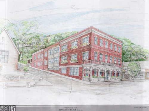207046171 A rendering depicts the hotel planned for Main Street in Northport Village.