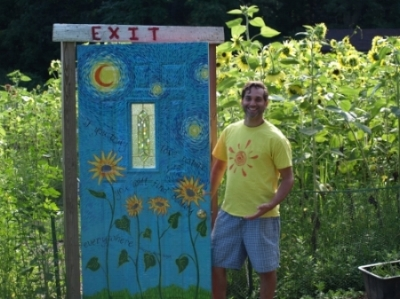 Rich Brundige, pictured, and his wife Elisa, have operated the sunflower maze at 210 Manor Road for four years.   Long Islander News photos/Connor Beach