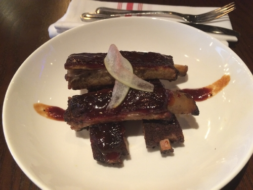 The St. Louis Ribs ($16) are served with a chipotle barbecue sauce and pickled watermelon rind.   Long-Islander News photo/Connor Beach