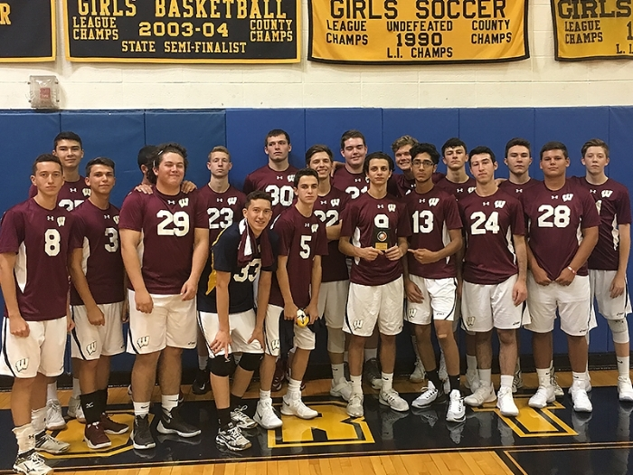 The Wildcats boys varsity volleyball team is pictured after winning the silver playoff bracket in the annual Northport Invitational, hosted last weekend.   Photo Courtesy of South Huntington School District