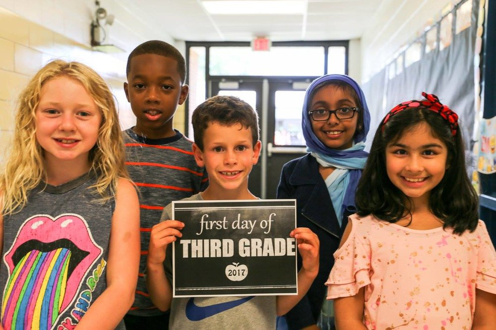 Half Hollow Hills third graders begin their first day of the 2017-2018 school year on Tuesday.   Photo/Half Hollow Hills School District