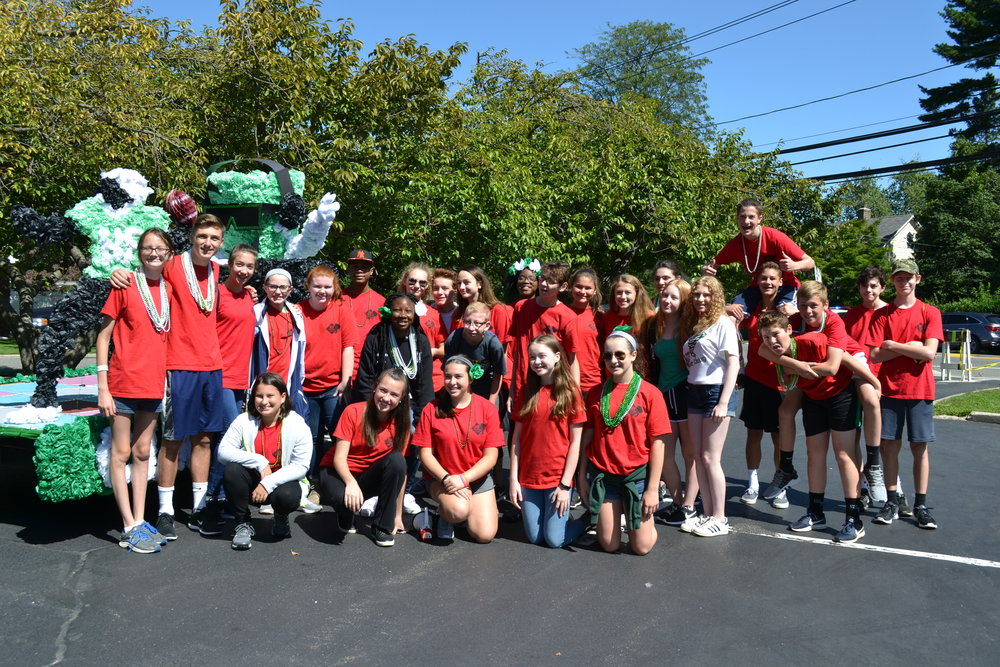 Harborfields High School freshmen in front of their electronic music float.   Photos/Harborfields Central School District