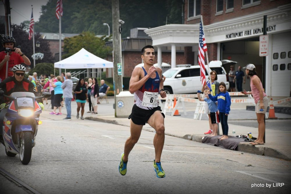 U.S. Olympian Donald Cabral races to his top overall finish (29:24.24) in the 2017 Great Cow Harbor 10K.   Photos/Ed Grenzig/Long Island Running Photos